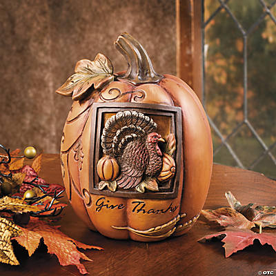 Pumpkin with Embossed Turkey