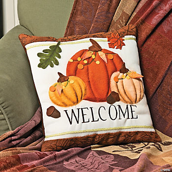 """Welcome"" Pumpkin Pillow"