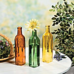 Green, Orange & Gold Bottle Vases