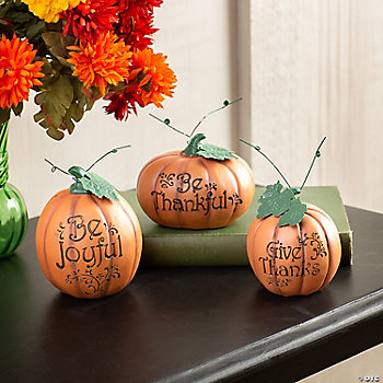 """Carved"" Thanksgiving Pumpkin Set"