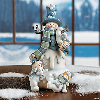 Snowman with Three Snow Kids