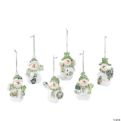 Celadon Green Snowman Ornaments