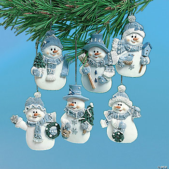 Blue Snowman Ornaments