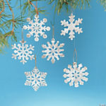 White Rustic Snowflake Ornaments
