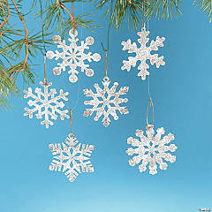 White Rustic Snowflake Christmas Ornaments