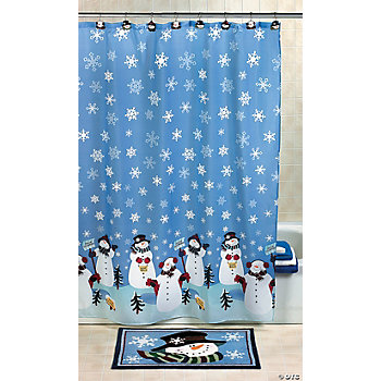 Snowman Shower Curtain, Hooks, Bath Mat
