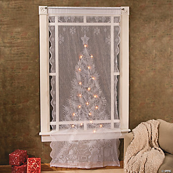 Christmas Tree Lighted Lace Curtain Panel