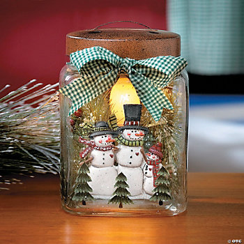 Snowmen Jar Lamp