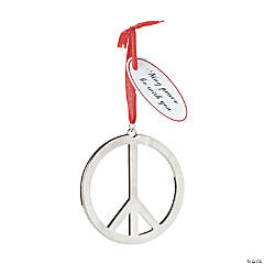 Metal Peace Sign Christmas Ornaments