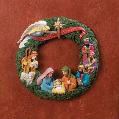 Christian Christmas Nativity Wreath