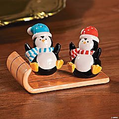 Penguin Salt & Pepper Shakers on Sled