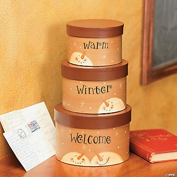"""Warm Winter Welcome"" Stacking Boxes"
