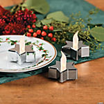Silver Star-Shaped Battery-Operated LED Tealight Candles