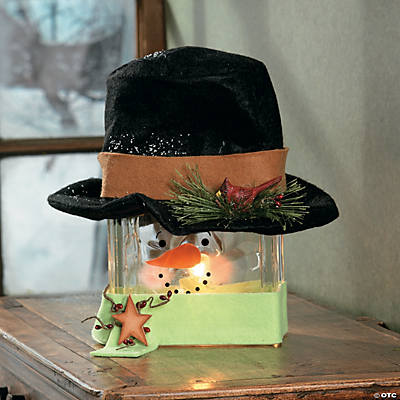 Snowman Glass Block Lamp