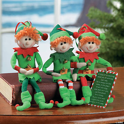 Plush Elf Christmas Ornaments