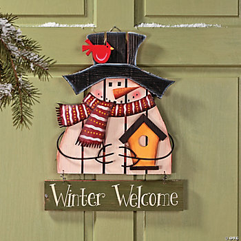 """Winter Welcome"" Hanging Snowman Decoration"