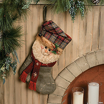 Plaid Winter Snowman Stocking