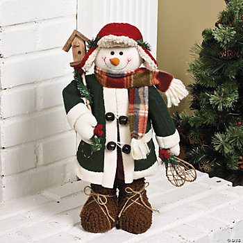 Standing Snowman with Birdhouse