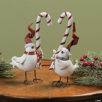 White Birds Holding Candy Canes