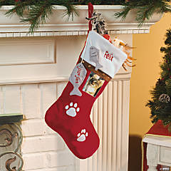 Personalized Pet Christmas Stocking - Cat/Red