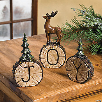 """Joy"" Tree Stump Tabletoppers"
