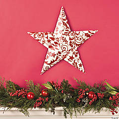 Red & White Damask Barn Star