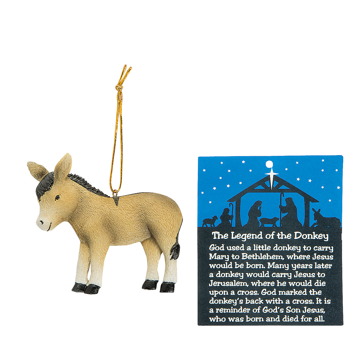 "Legend Of The Christmas Tree Poem: ""Legend Of The Donkey"" Christmas Ornaments"