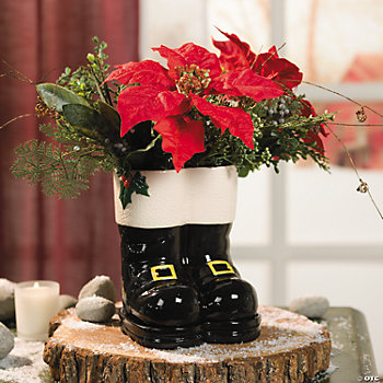 Santa Boots With Buckles Planter