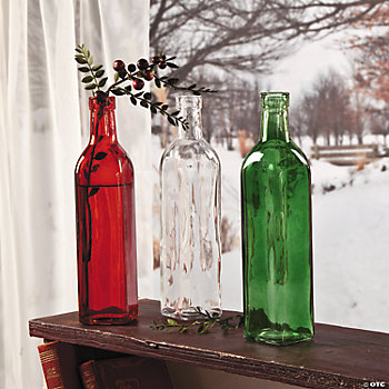 Red, Green & Clear Bottle Vases
