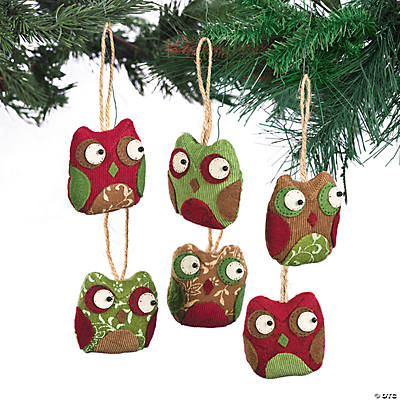 Patchwork Owl Christmas Ornaments