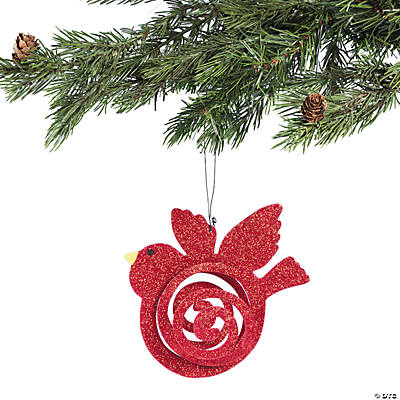 Spiral Cut Glitter Bird Christmas Ornament