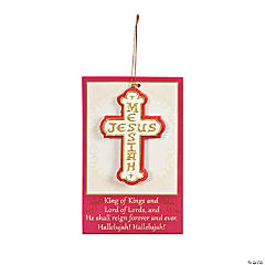 """Jesus Messiah"" Cross on Card Christmas Ornament"