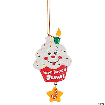 """Happy Birthday Jesus!"" Cupcake Ornaments"