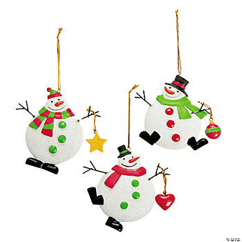 Red, White & Green Snowman Ornaments