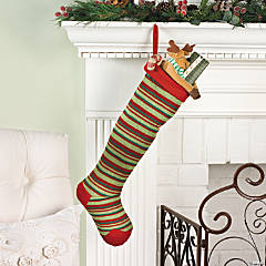 Red & Green Striped Knit Stocking