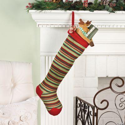 Striped Christmas Stocking Knitting Pattern : Red & Green Striped Knit Christmas Stocking - Oriental ...