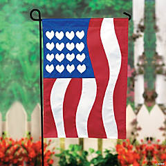 Mini Patriotic Yard Flag With Pole