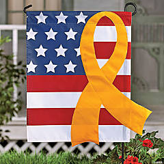 Patriotic Yellow Ribbon Flag And Pole