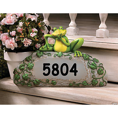 Personalized Frog House Number Stone