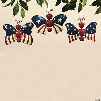 Patriotic Butterfly Jingle Bell Ornaments