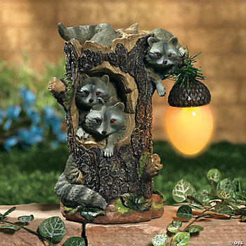 Raccoons with Solar Pinecone