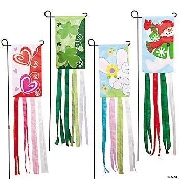 Changing Seasons Garden Yard Flags & Pole