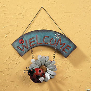 """Welcome"" Sign with Ladybug & Flower"