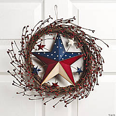 Wicker Americana Star Wreath