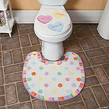 Conversation Hearts Toilet Lid Cover & Rug