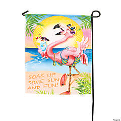 Luau Flamingo Garden Flag