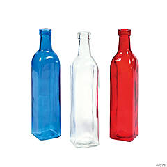 Red, Blue & Clear Bottle Vases