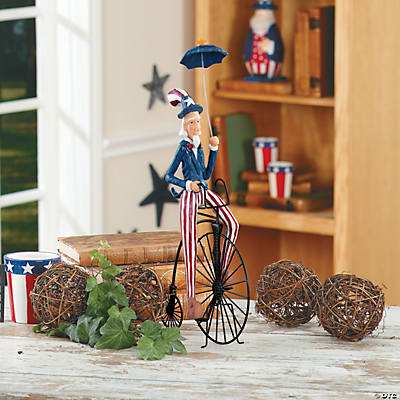 Uncle Sam on Old-Fashioned Bicycle