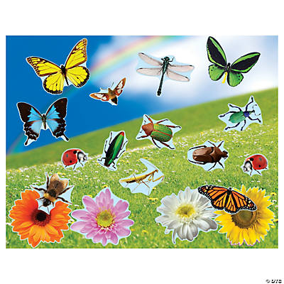 DIY Realistic Bugs & Flowers Sticker Scenes