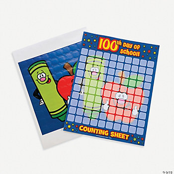 "12 ""100th Day"" Sticker Counting Sheets"